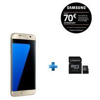 Samsung - Galaxy S7 Edge Or + Carte microSDHC Kingston 32 Go Class 10 UHS-I 45MB/s Read Card + SD Adapter SDC10G2/32GB