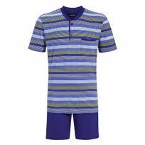 Ringella - Pyjama court : Tee-shirt col tunisien bleu indigo à rayures vertes, bleu clair et bleu ciel et short bleu indigo