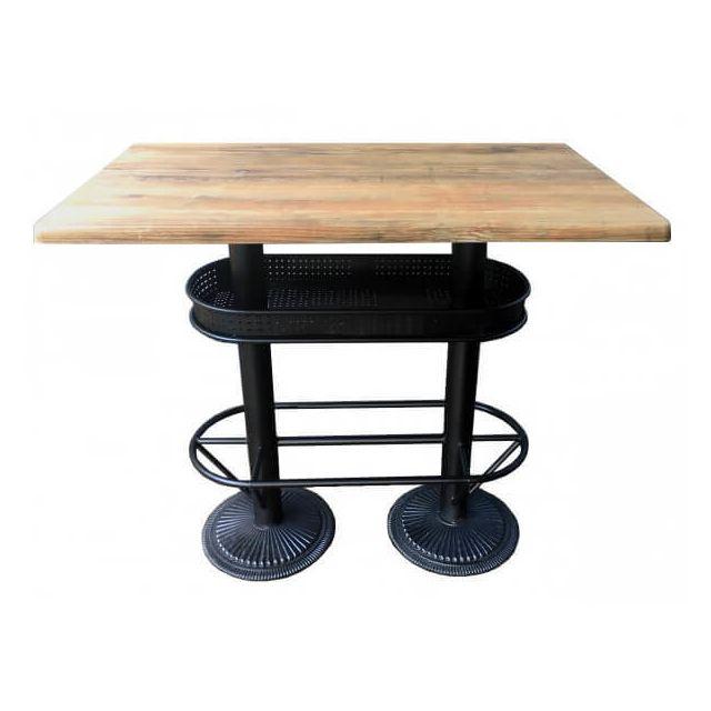 Mathi Design Oldwood - Table bistrot/industriel plateau effet bois vieilli