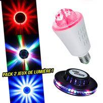 Lytor - Pack 2 jeux de lumière effet Ufo + Ampoule d'ambiance rotatif culot E27 à Leds Rvb