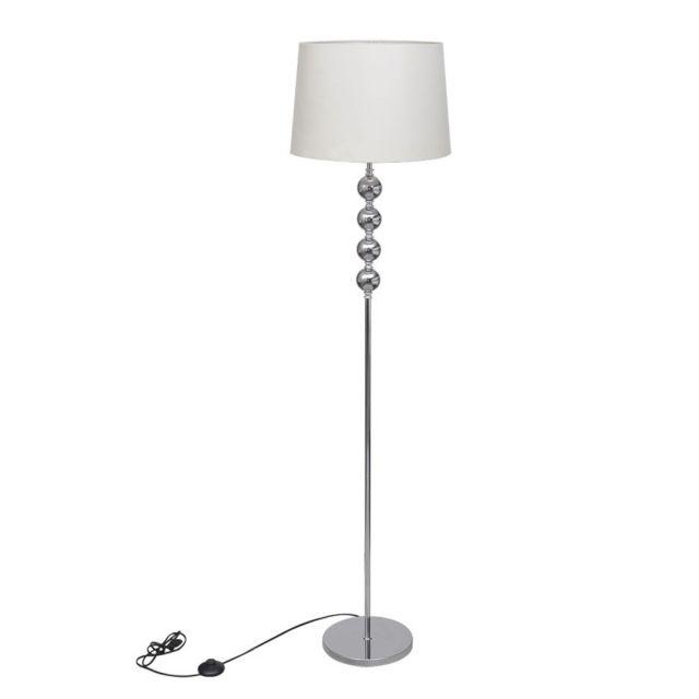Vida Lampe de sol à long pied avec 4 boules de décoration Blanc