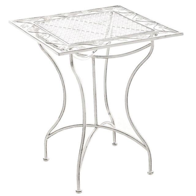 Table rond de jardin en fer forgé coloris noir Dim H 72 x L 60 x