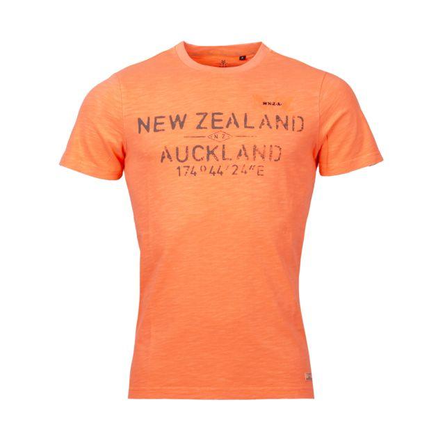 NEW ZEALAND AUCKLAND Tee-shirt col rond Nza Waiaua en coton orange fluo floqué