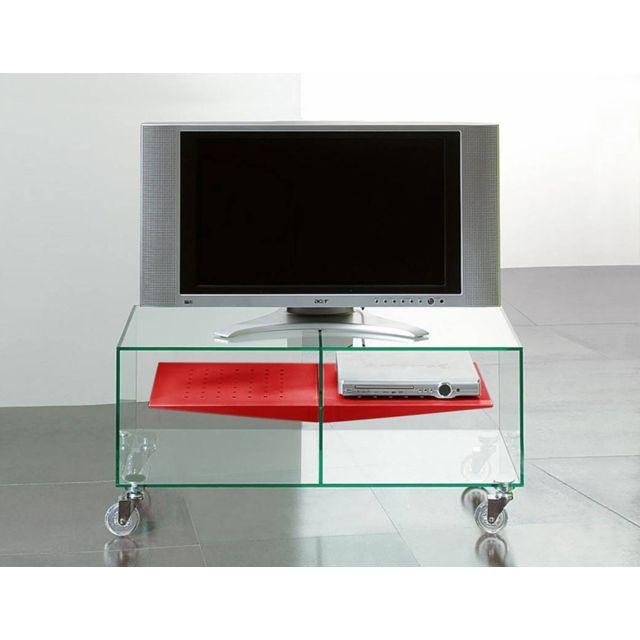 Square Deco Meuble Tv E Box Verre Trempé Roulettes Pas