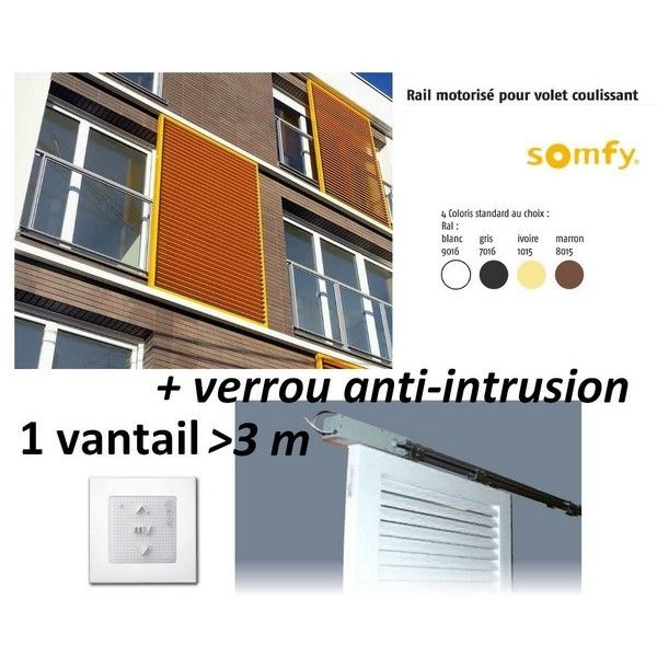 somfy motorisation pr volet coulissant 1 volet 3m verrou couleur standard pas cher. Black Bedroom Furniture Sets. Home Design Ideas