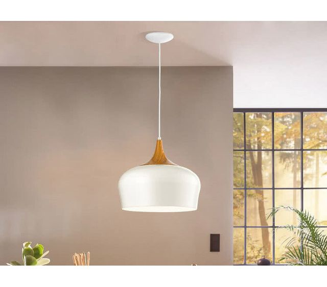 Eglo - Suspension en acier finition bois diamètre 35cm Obregon - Blanc