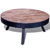 Rocambolesk - Superbe Table basse ronde en teck recyclé neuf