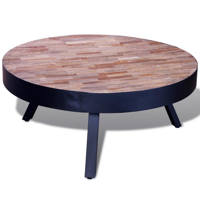 vidaxl table basse ronde en teck recycl multicolore 76cm x 76cm x 34cm pas cher achat. Black Bedroom Furniture Sets. Home Design Ideas