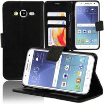 Vcomp - Housse Coque Etui portefeuille Support Video Livre rabat cuir Pu pour Samsung Galaxy J5 Sm-j500F - Noir