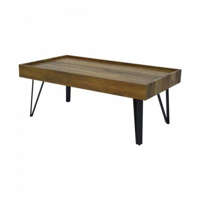 Zoli99 Table basse style industriel - scandinave avec plateau