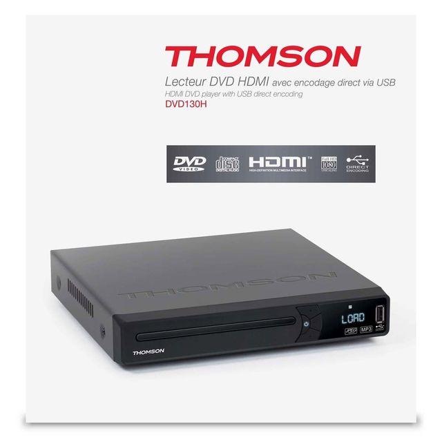 Thomson Lecteur Dvd Hdmi/ Péritel / S-vidéo Compatible Dvd, Vcd, Cd, Cd-r, Cd R-rw Dvd+ -r/W-MPEG 4-JPEG Interpolation Full Hd 1080p / Stéréo Encodage direct Usb Dolby Digital Télécommande Alimentation secteur 230V