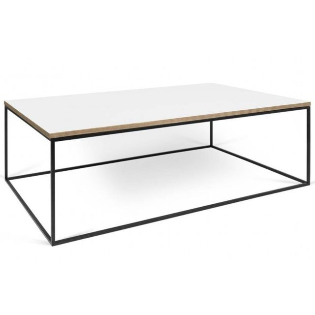 Inside 75 Tema Home Table basse rectangulaire Gleam 120 plateau blanc mat structure laquée noir mat