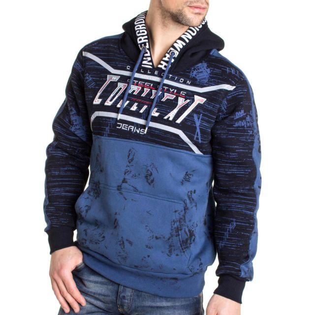 BLZ JEANS Sweat bleu navy imprimé à capuche et cordons