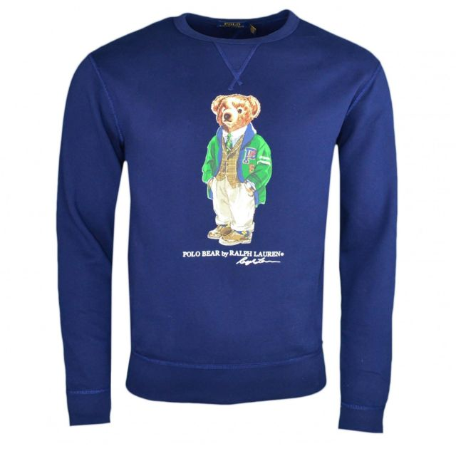 8c333de2ad0d8b Ralph Lauren - Sweat col rond Ralph Lauren bleu marine Polo Bear pour homme