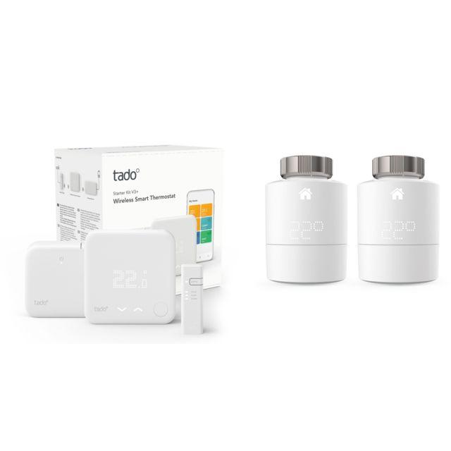 TADO - Kit de démarrage V3+ - Thermostat Intelligent sans fil + 2x Têtes Thermostatiques Intelligentes - Duo Pack