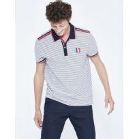 Polo homme, col boutonné bicolore, manches courtes - Rayé bleu et blanc