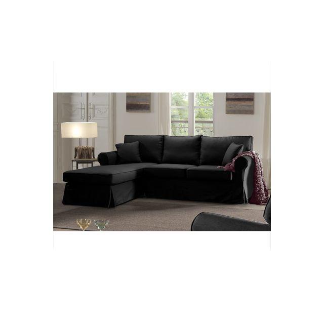 Canapé d'angle fixe gauche noir Jaipur