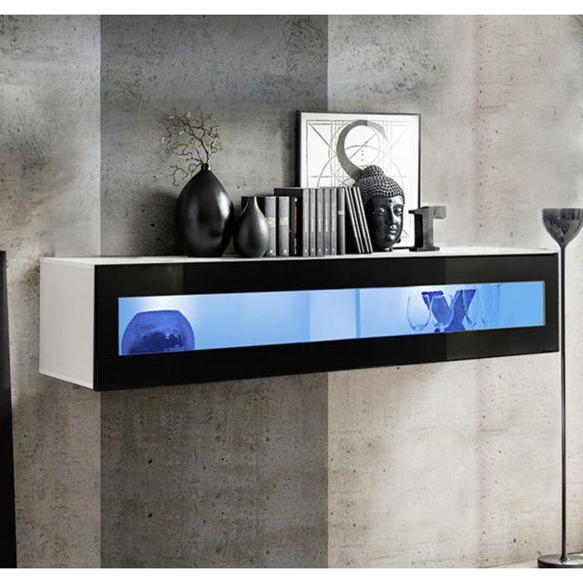 Design Ameublement Armoire mural modèle Krista H150CR 150x30cm, blanc et noir