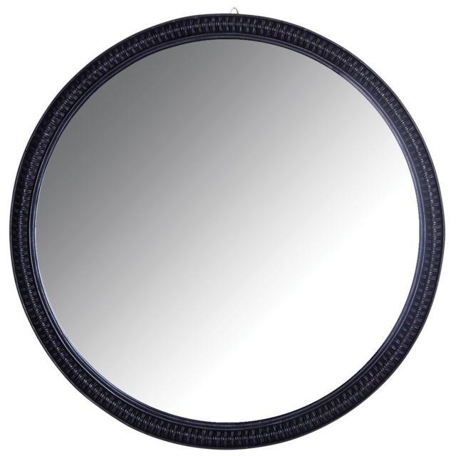 AUBRY GASPARD Grand miroir rond en rotin noir