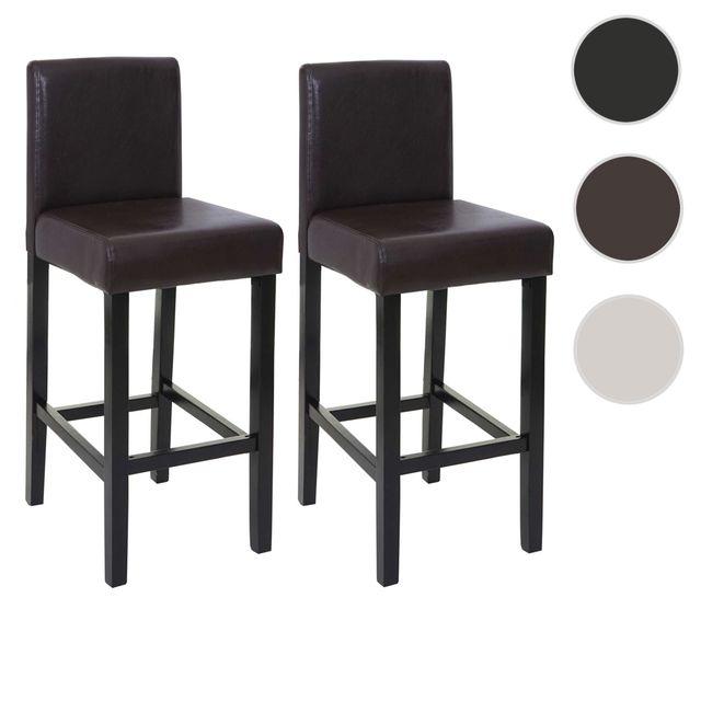 Mendler - 2x tabouret de bar Genk, chaise de comptoir, bois, similicuir ~ 54091ab5a7d5