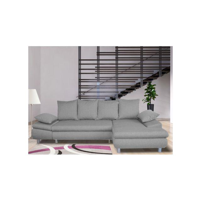 Canapé d'angle convertible en tissu FELTON - Gris - Angle droit