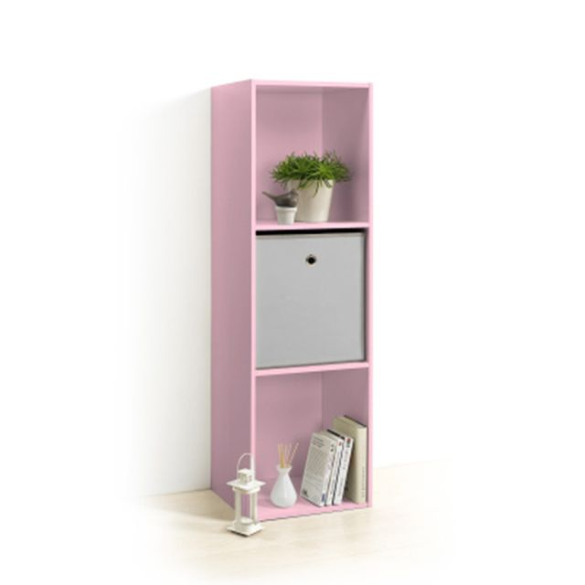 homea meuble cube rose 3 niches