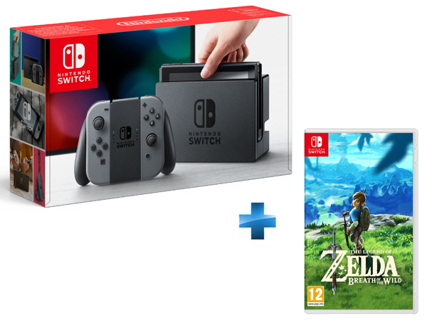 Console Switch avec une paire de Joy-Con Gris + The Legend of Zelda: Breath of the Wild