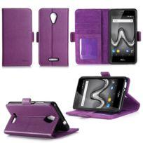 Xeptio - Wiko Tommy 2 : Housse Portefeuille luxe violette Cuir Style avec stand - Etui violet coque de protection Wiko Tommy 2 smartphone 2017 /2018 5.5 pouces Dual Sim avec porte cartes - Accessoires pochette : Exceptional case