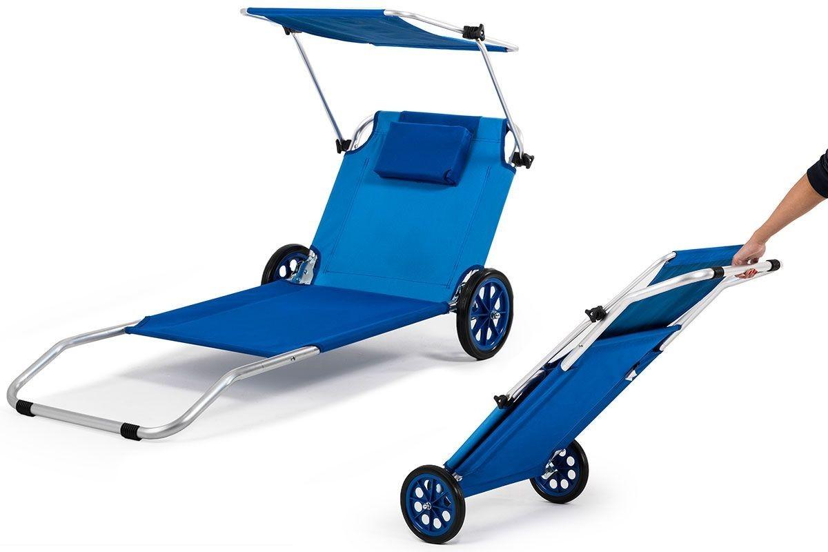 home kraft  transat de plage pliable  chariot à roues