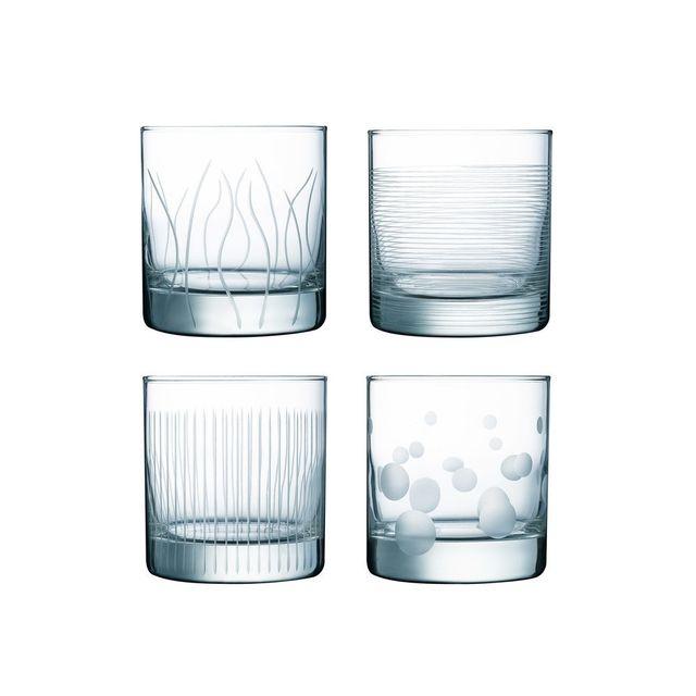 Luminarc Gobelets en verre 38cl gravés - Lot de 4 pièces Lounge Club