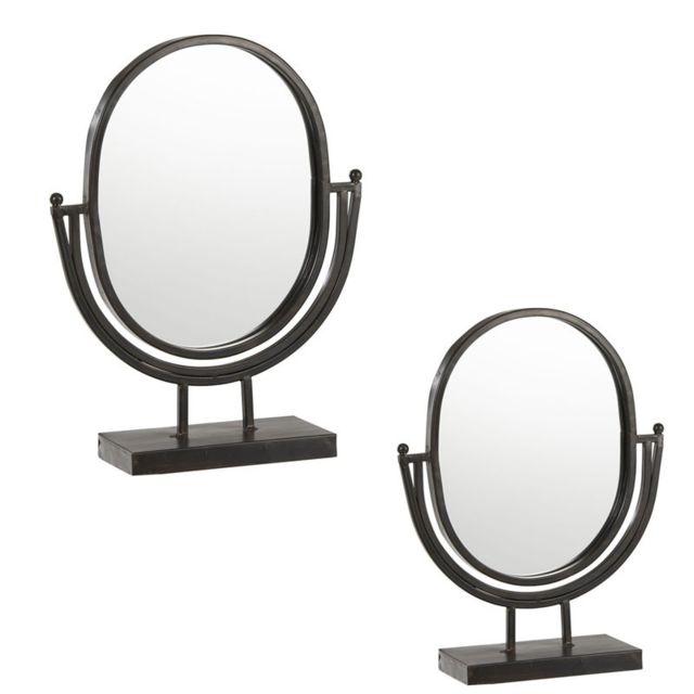 Tousmesmeubles Duo de Miroirs sur pied Métal noir - Irzai