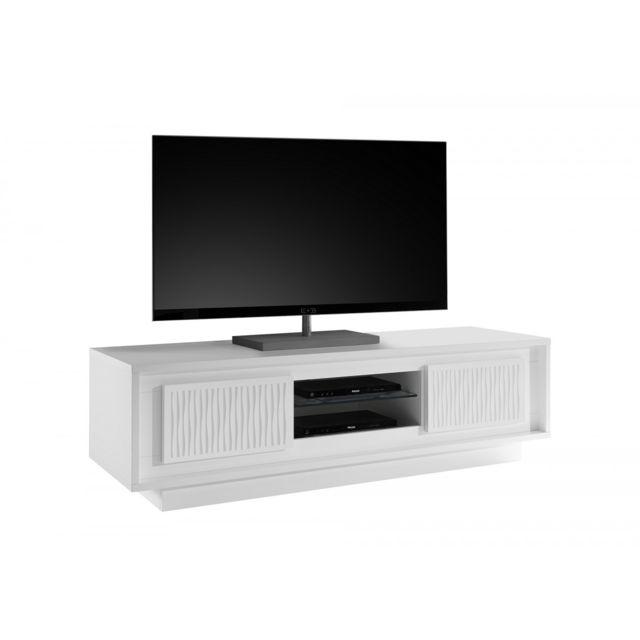 Subleem Meuble Tv deux portes Monno Blanc laqué mat rayures
