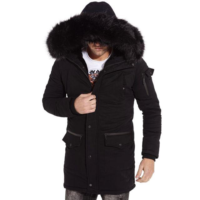 6d506da5be GOV DENIM - Parka hiver intégralement doublé et à capuche fourrure noir