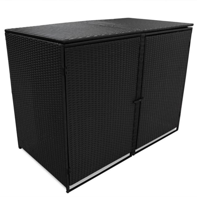 Vidaxl Abris pour poubelle double Résine tressée Noir 148x80x111 cm