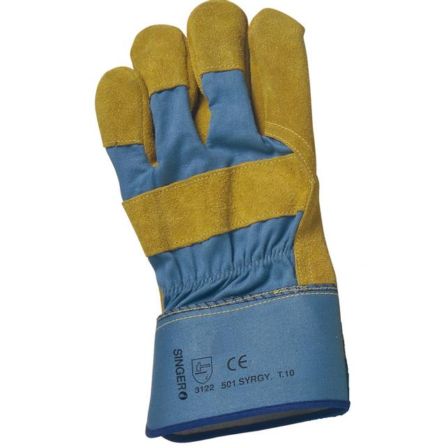 Topcar paire de gants paume cuir croûte bovin jaune singer 501syrgy taille 10
