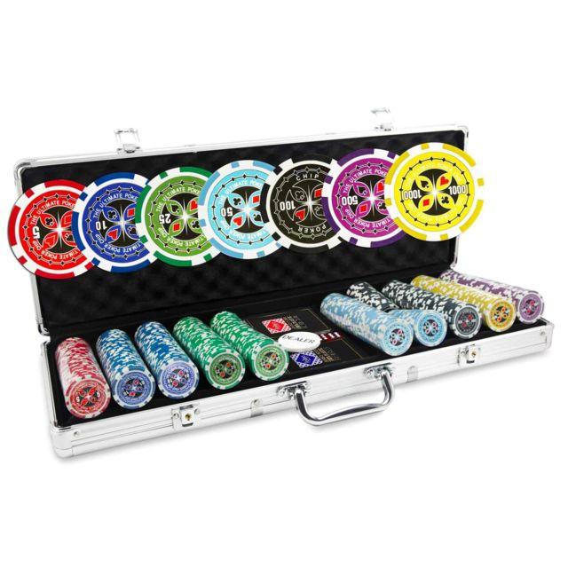 Pokeo Malette Poker 500 Jetons Ultimate Set De 500 Jetons De Poker 13 5g Malette Aluminium 2 Jeux De Cartes 100 Plastique Bouton Dealer Pas Cher Achat Vente Mallettes Rueducommerce