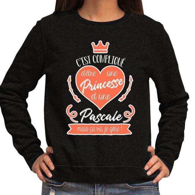 """CLOSSET Pascale   Sweat Femme C'est compliqué d'être une princesse et une """"prénom"""", mais ça va je gère   Pull Collection Humour nom fun et drôle Xl"""