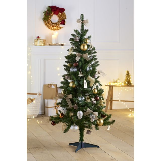 CARREFOUR Sapin artificiel décoré - Nature - H. 150 cm - N°40