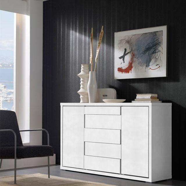 Tousmesmeubles Buffet 2 portes 5 tiroirs Blanc 150 cm - Apra