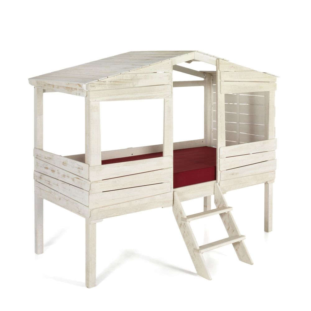 alina woody wood lit cabane 1 place blanc antique en pin massif 90x200cm - Alinea Lit Enfant