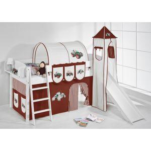 lilokids lit sur lev ludique ida 4105 90x200 cm tracteur marron beige lit sur lev volutif. Black Bedroom Furniture Sets. Home Design Ideas