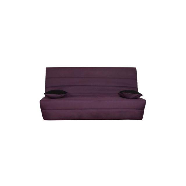 Sans Marque Splot Banquette Clic Clac 3 Places - Tissu Prune - Style Contemporain - L 190 X P 95 Cm