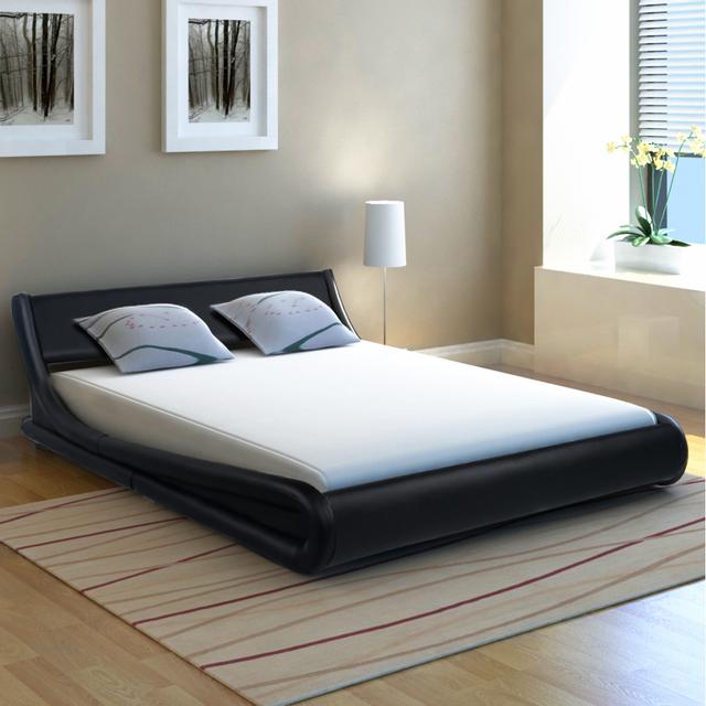 vidaxl lit avec matelas 140 x 200 cm cuir artificiel vague noir 140cm x 200cm pas cher achat. Black Bedroom Furniture Sets. Home Design Ideas
