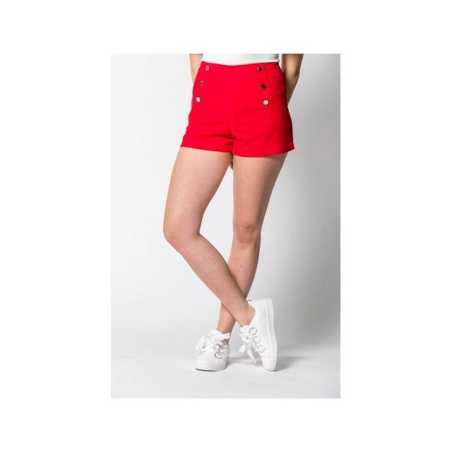 nouveau pas cher célèbre marque de designer pas cher Princesse Boutique - Short Rouge taille haute - pas cher ...