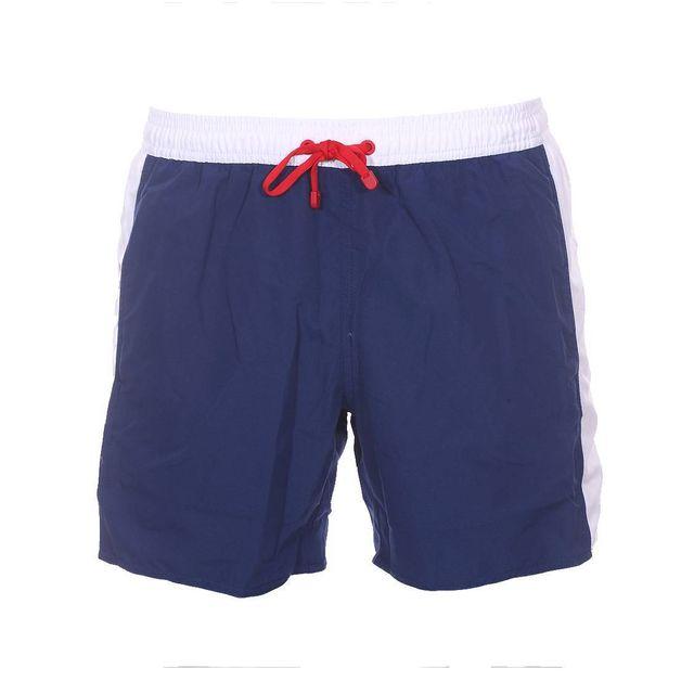 f37cb59d5a63b Armani - Short de bain Ea7 bleu marine à bandes blanches - pas cher ...