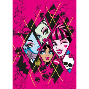 MONSTER HIGH - Tapis MONSTERS HIGH Checkers Rose Tapis Enfants par rose 95 x 133 cm