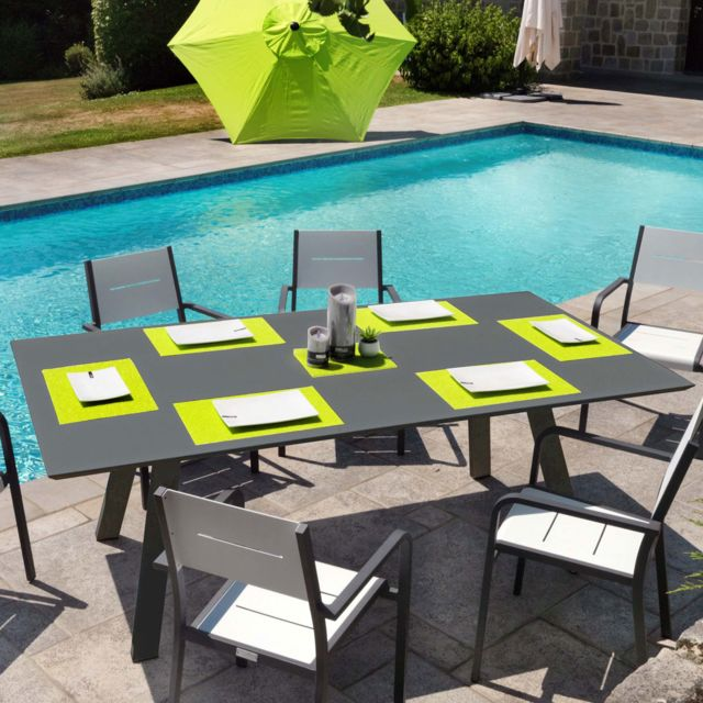 Ozalide - Table de jardin Contemporain aluminium 220 x 110 x ...
