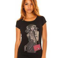 Fashion Mode 45 - T-shirt imprimé pin up Couleur - Blanc, Taille - L