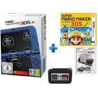 NINTENDO - New 3DS XL Bleu Métallique + Super Mario Maker + BLOC ALIMENTATION 3DS DSI XL ET DSI + New 3DS XL Retro NES Sacoche rigide