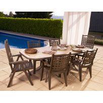 "Grosfillex - Salon de jardin ""Amalfi"" bronze + 4 fauteuils bronze + 2 fauteuils dossier réglable bronze"